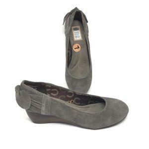 Dr Scholls Gray Suede Mina Wedge Heel Size 7